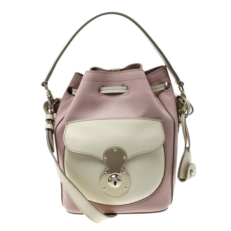 507162fd76 ... closeout ralph lauren blush pink off white leather ricky drawstring  bucket bag. nextprev. prevnext