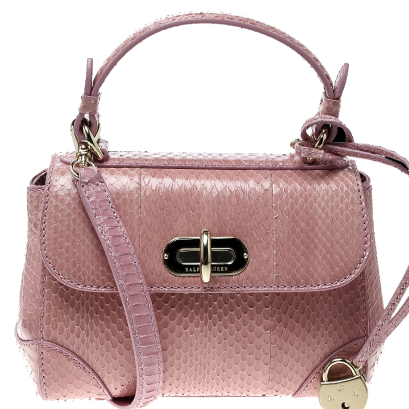 ... Ralph Lauren Blush Pink Python Mini Tiffin Top Handle Bag. nextprev.  prevnext