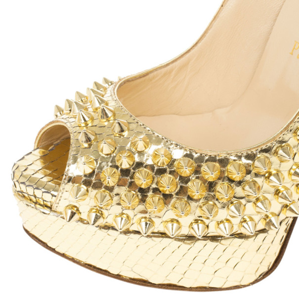 Christian Louboutin Gold Python Spiked Lady Peep Toe Platform Pumps Size 36.5