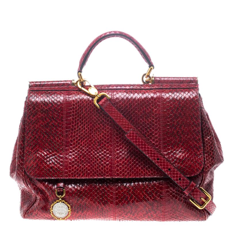 021cd453823e Dolce and Gabbana Red Python Medium Miss Sicily Top Handle Bag. nextprev ...