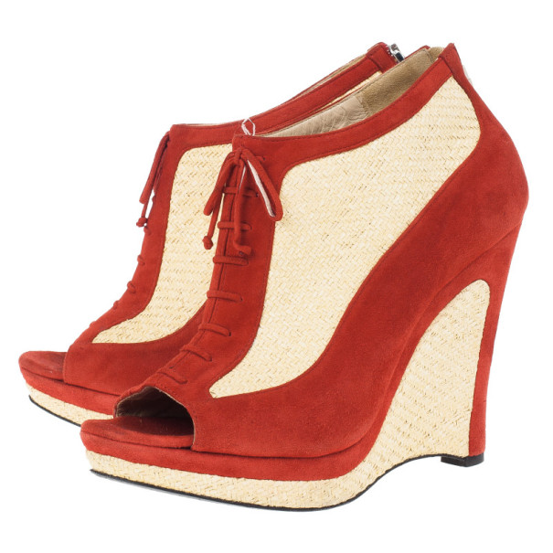 Fendi Red Suede Lace Up Peep Toe Wedge Booties Size 39