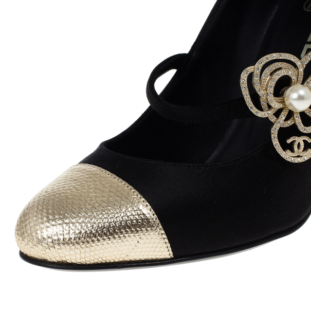 Chanel Black Satin Pearl Flower Mary Jane Pumps Size 37