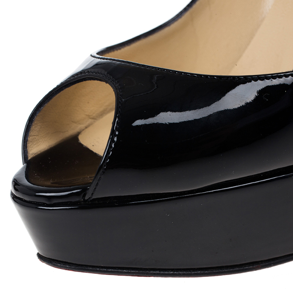 Christian Louboutin Black Patent Banana Peep Toe Platform Pumps Size 38