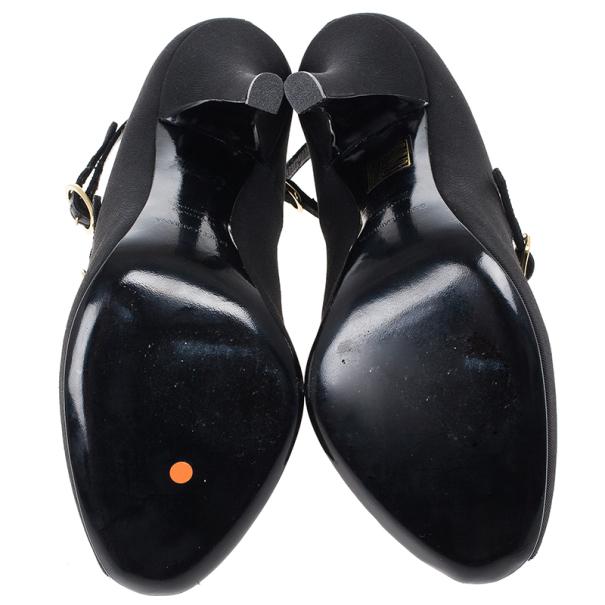 Dolce and Gabbana Black Canvas Mary Jane Platform Pumps Size 38