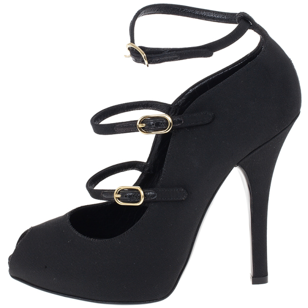 Dolce and Gabbana Black Canvas Mary Jane Platform Pumps Size 38