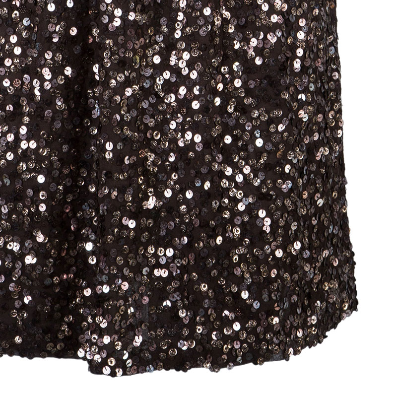 Alice + Olivia Preston Brown Sequin Dress S