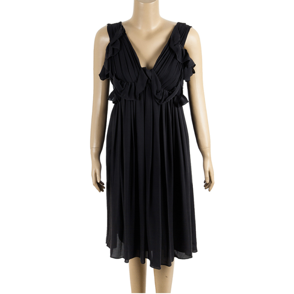 Chloe Gathered Silk Dress S