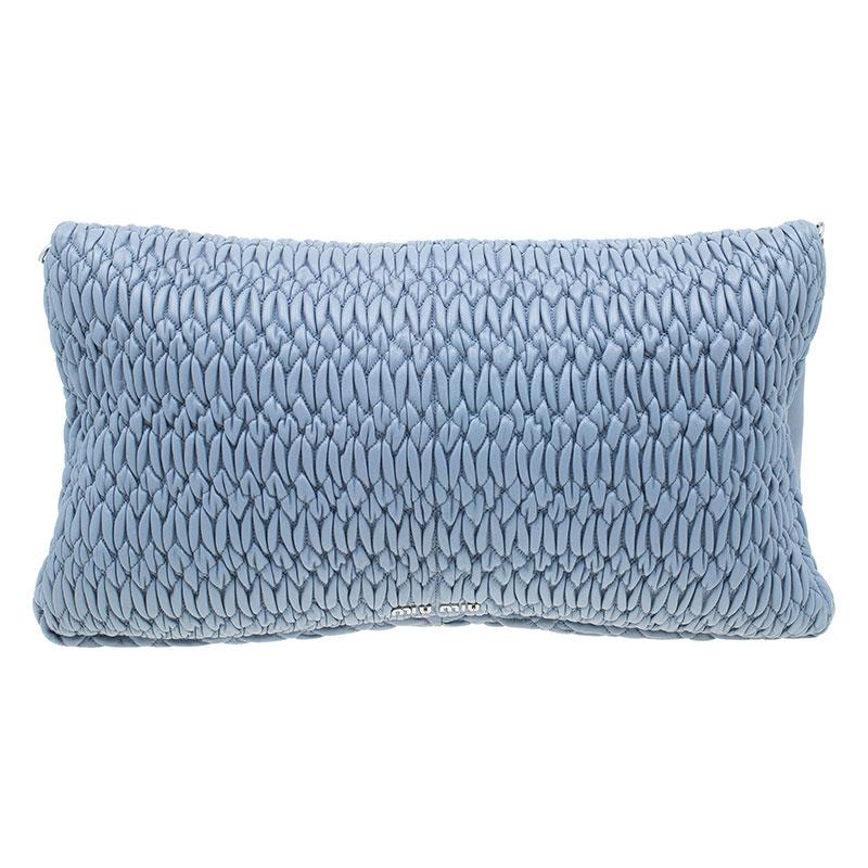 Miu Miu Light Blue Leather Crystal Matelasse Shoulder Bag