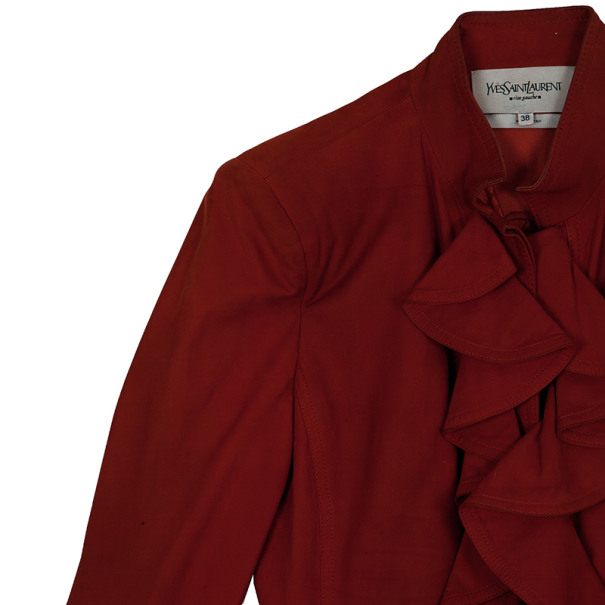 Saint Laurent Paris Silk Suede Ruffle Jacket M