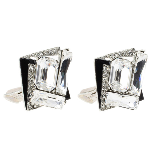 Oscar de la Renta Geometric Crystal Clip On Earrings