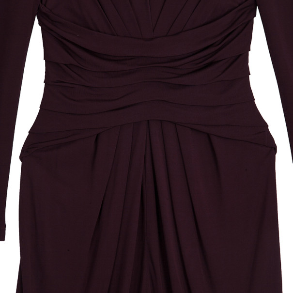 Elie Saab Purple Front-slit Ruched Gown S