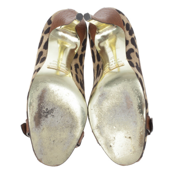 Dolce and Gabbana Leopard Print Peep Toe Pumps Size 37