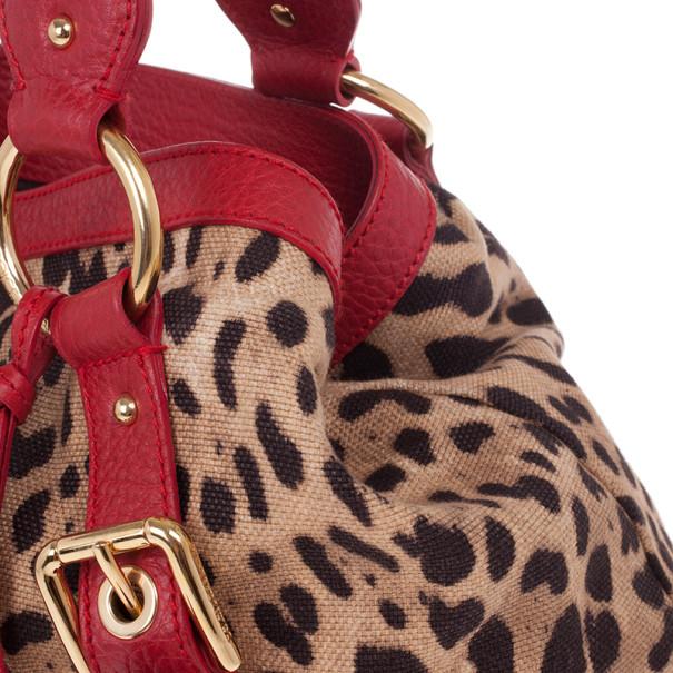 Dolce and Gabbana Leopard Print Canvas Bag
