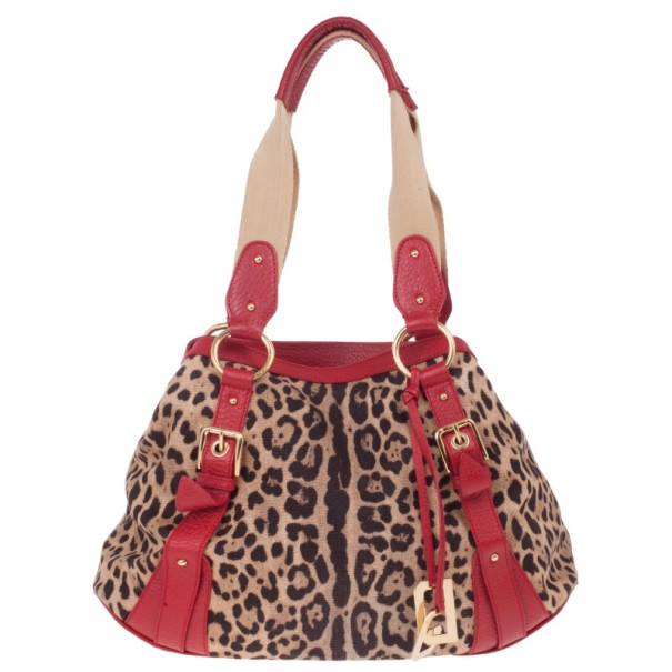 Dolce and Gabbana Leopard Print Canvas Bag