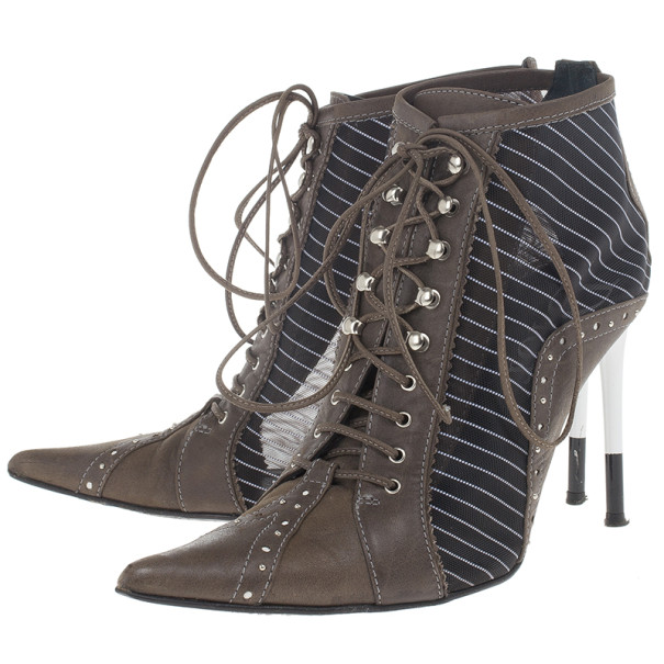 Dior Pointed Toe Lace Up Ankle Boots Size 36.5