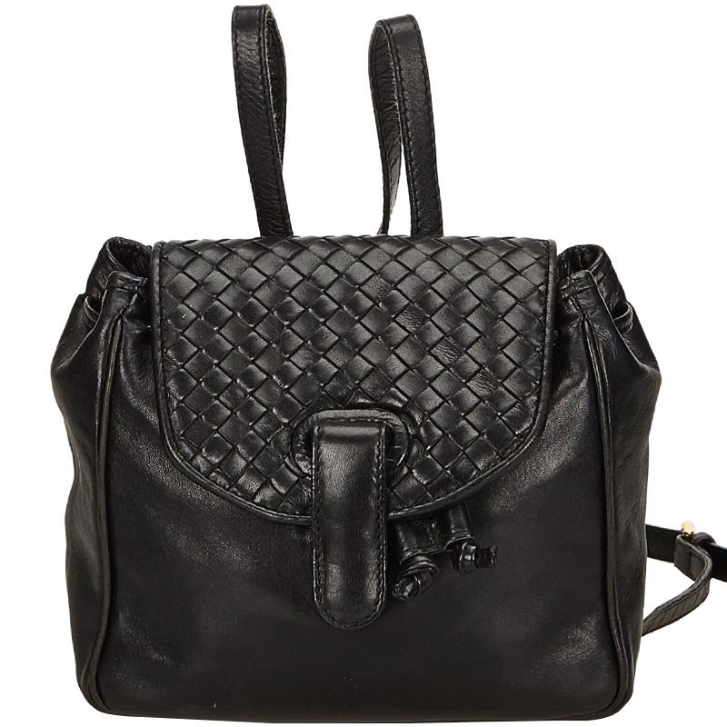 Купить со скидкой Bottega Veneta Black Intrecciato Leather Drawstring Backpack