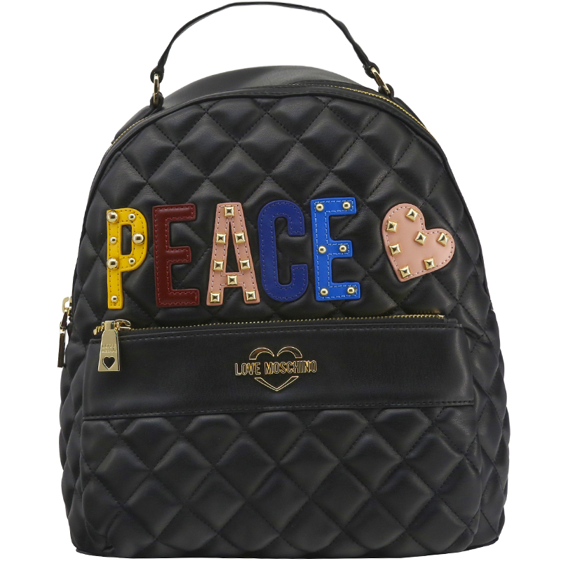 """Купить со скидкой Love Moschino Black Quilted Leather """"PEACE"""" Backpack"""