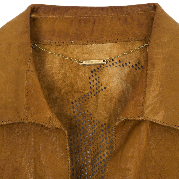 Roberto Cavalli Perforated Back Leather Jacket S