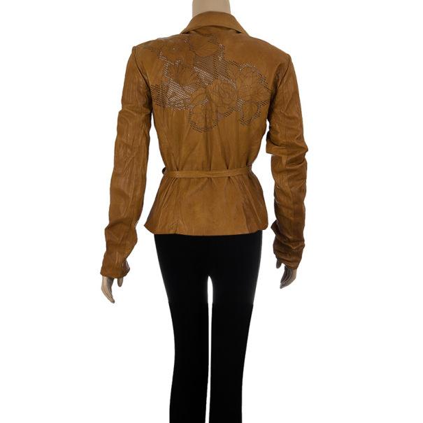 Roberto Cavalli Perforated Back Leather Jacket S
