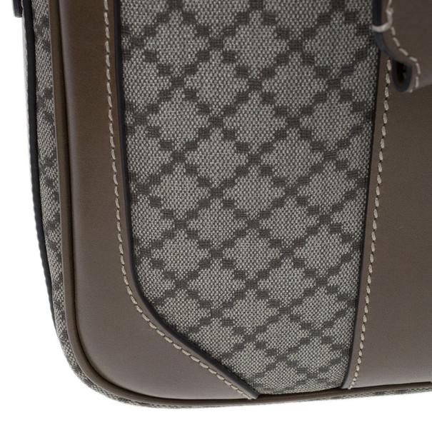Gucci Brown Diamante Supreme Briefcase