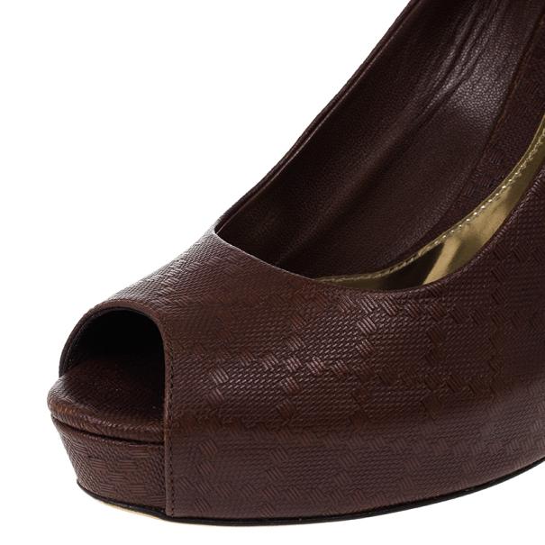Gucci Brown Diamante Leather Sofia Peep Toe Platform Pumps Size 39