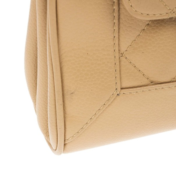 Chanel Beige Lambskin Mini Accordion Flap Bag