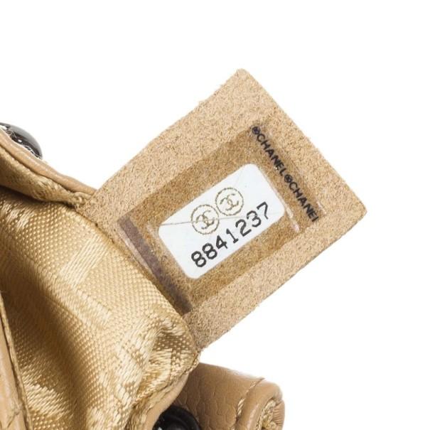 Chanel Beige Lambskin Mini Accordion Flap Bag