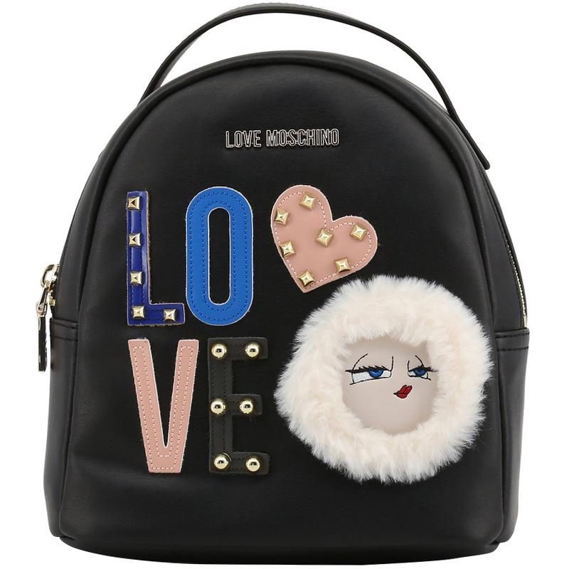 Купить со скидкой Love Moschino Black Leather LOVE Backpack