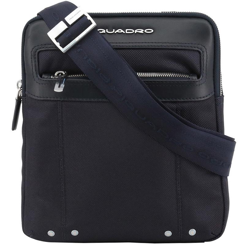Купить со скидкой Piquadro Navy Blue Nylon and Leather Messenger Bag
