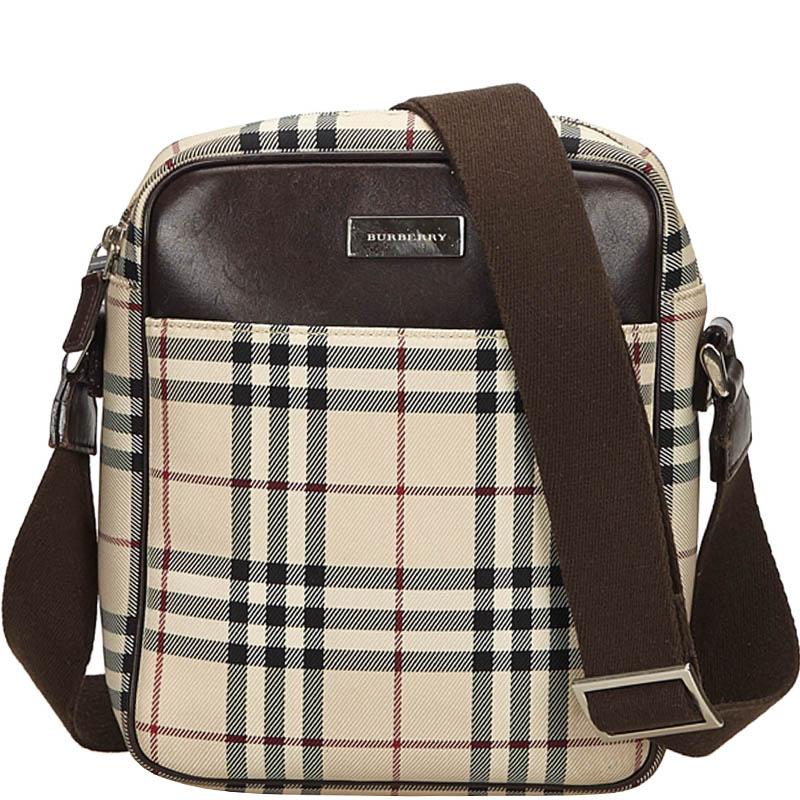 Купить со скидкой Burberry Brown Check Nylon and Leather Messenger Bag