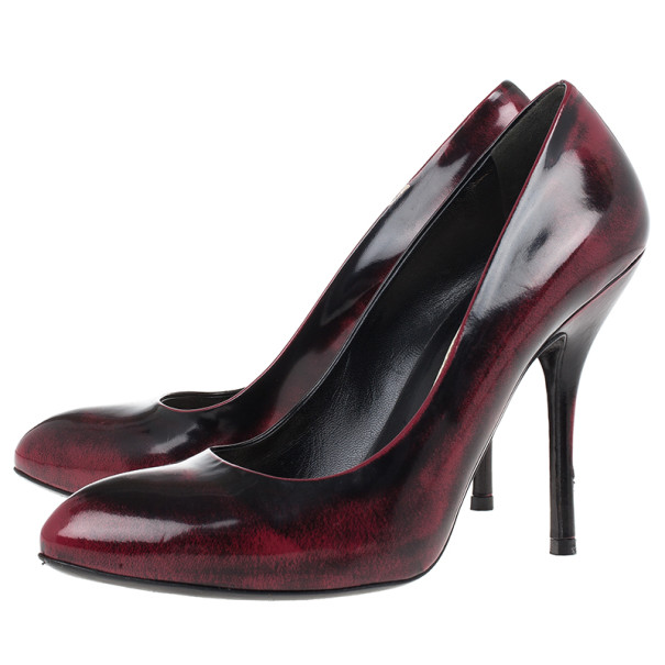 Gucci Red and Black Leather Sofia Pumps Size 37.5