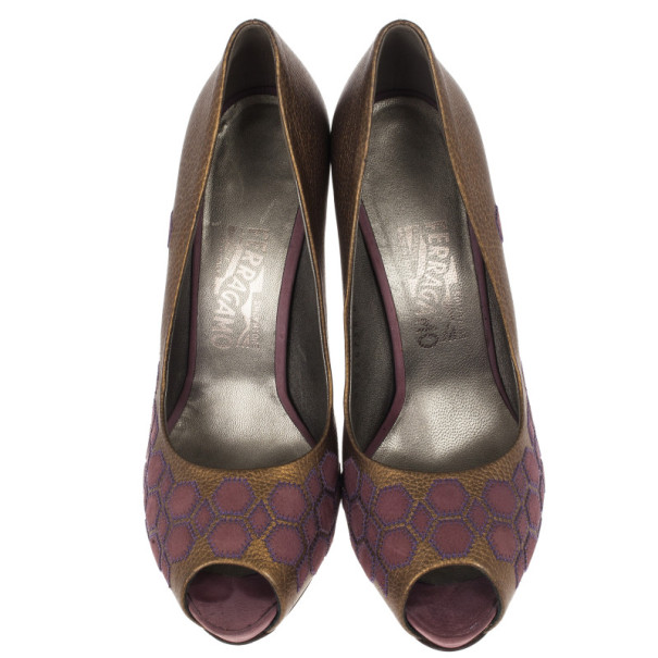 Salvatore Ferragamo Geometric Patchwork Peep Toe Pumps Size 38