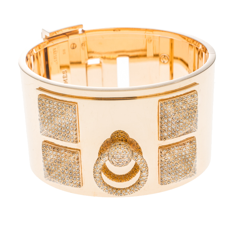 Купить со скидкой Hermès Collier de Chien Diamond 18k Rose Gold Large Cuff Bracelet