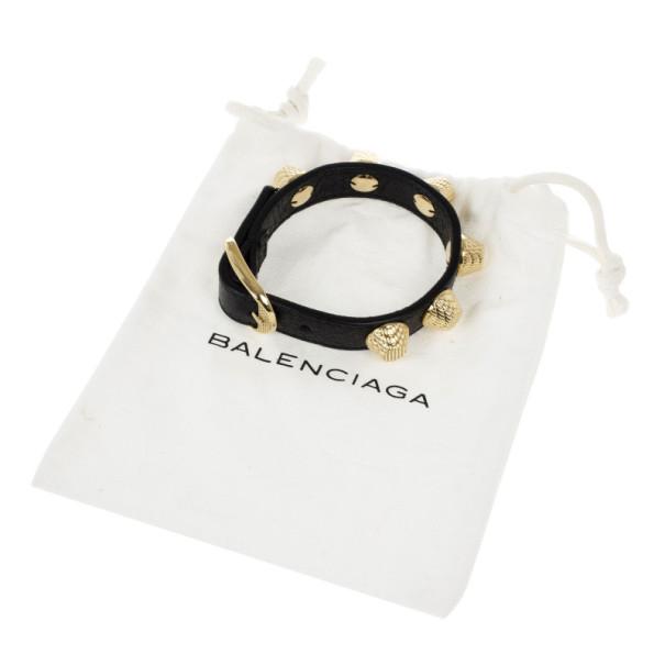 Balenciaga Arena Giant All Gold Tone Stud Black Leather Bracelet S