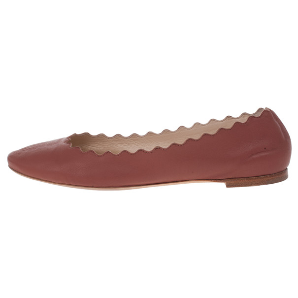 Chloe Brown Leather Lauren Scalloped Ballet Flats Size 38.5