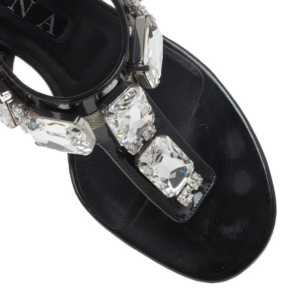 Gina Black Crystal Embellished Thong Sandals Size 38.5