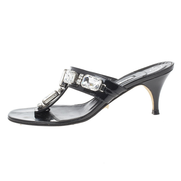 Gina Black Crystal Embellished Thong Sandals Size 38.5