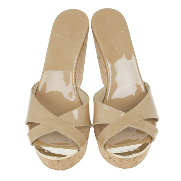 Jimmy Choo Nude Patent Perfume Cork Wedges Size 38.5