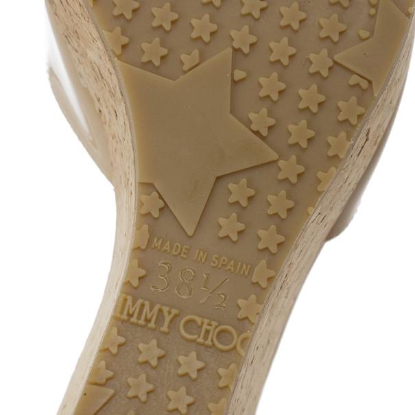 Jimmy Choo Nude Patent Perfume Cork Wedges Size 38.5