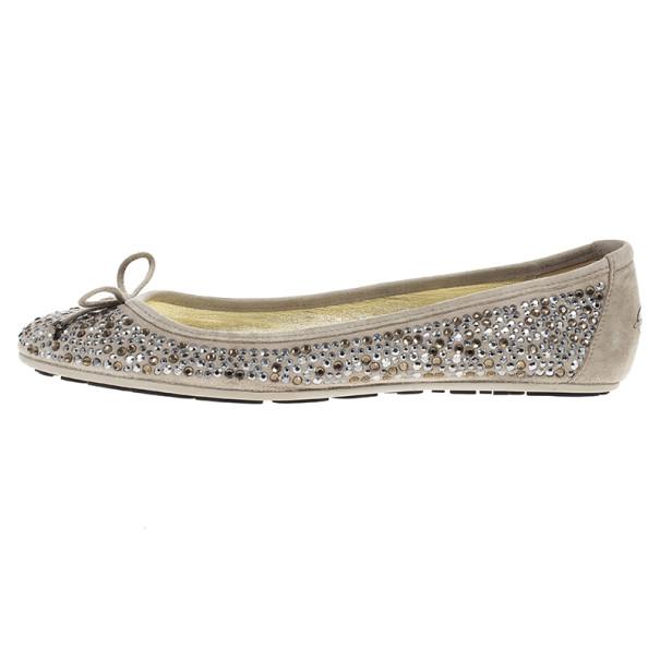 Jimmy Choo Weber Crystal Embellished Suede Ballet Flats Size 38.5
