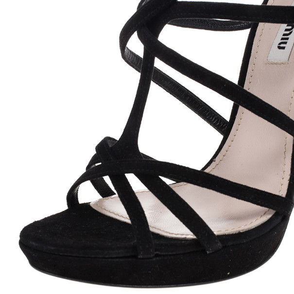 Miu Miu Black Suede Crisscross Strappy Sandals Size 38.5