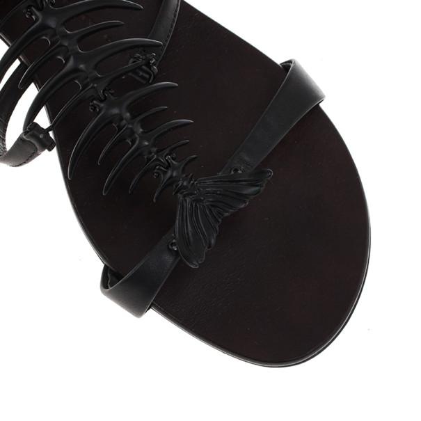 Giuseppe Zanotti Black Fishbone Flat Sandals Size 38.5