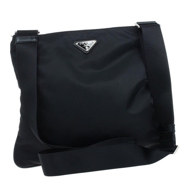 Prada Black Nylon Messenger Bag