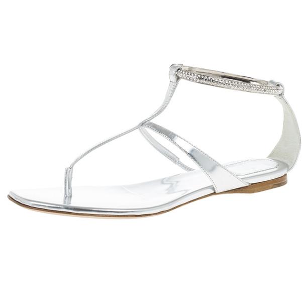 Dior Silver Embellished T Strap Sandals Size 37