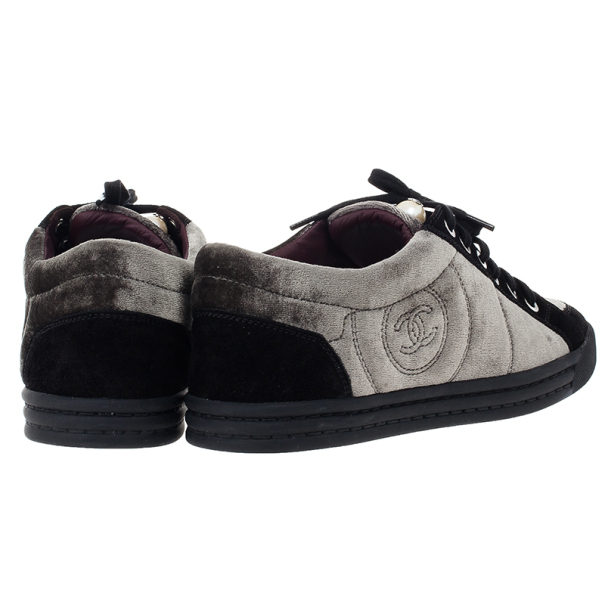 Chanel CC Pearl Suede Sneakers Size 38.5