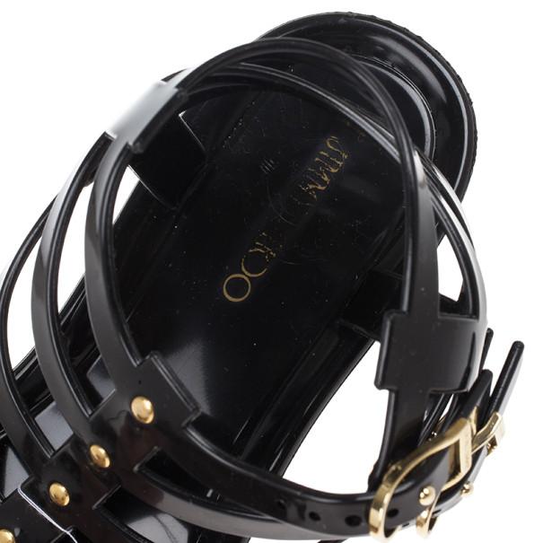 Jimmy Choo Black Jelly Margot Gladiator Sandals Size 39