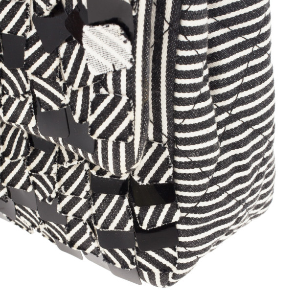 Chanel Monochrome Fabric Striped Diane Kruger 2.55 Double Flap Bag