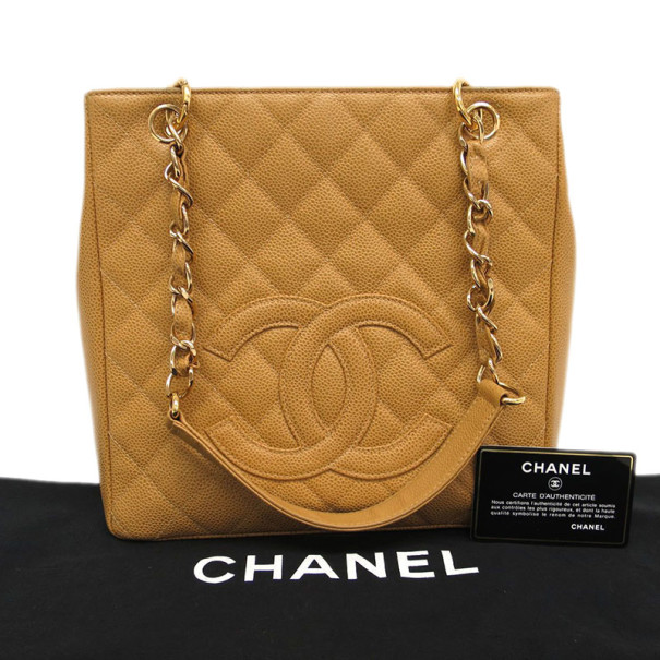 Chanel Beige Caviar Petite Shopper Tote PST