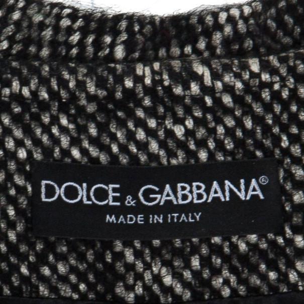 Dolce and Gabbana Gray Wool Herringbone Coat M