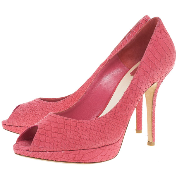 Dior Pink Python Embossed Miss Dior Pumps Size 41
